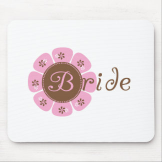 Pink and Brown Flower Bride Mouse Pad