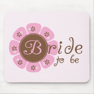 Pink and Brown Flower Bride to Be Tshirts Mouse Pad