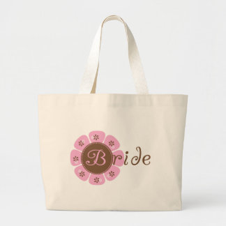 Pink and Brown Flower Bride Tshirts and Gifts Jumbo Tote Bag