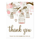 Pink and Brown Flowers & Birdcages Thank You Card