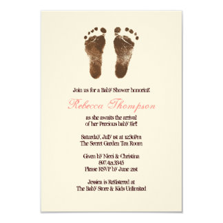Pink and Brown Foot Prints Baby Shower 9 Cm X 13 Cm Invitation Card