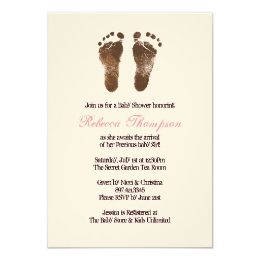 Pink and Brown Foot Prints Baby Shower Personalized Invitation