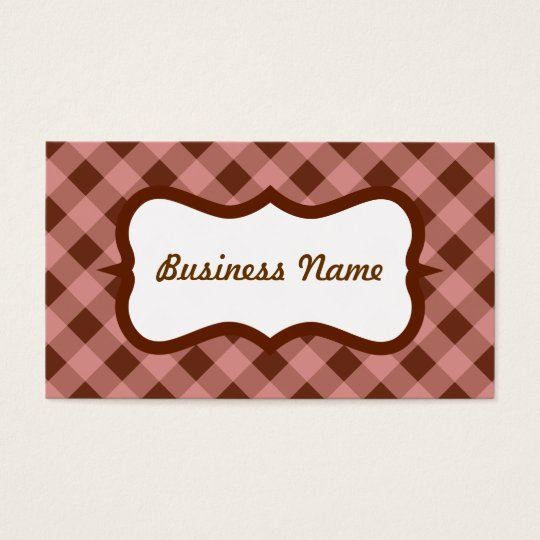 Pink and Brown Gingham Business Card