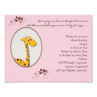 Pink and Brown Giraffe Baby Shower Invitation