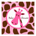 Pink and Brown Giraffe Girl Baby Shower Personalised Invites