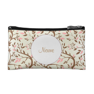 Pink and Brown Ivy Personalized Clutch Cosmetics Bags