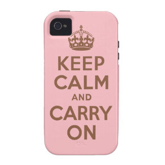 Pink and Brown Keep Calm and Carry On iPhone 4 Cover