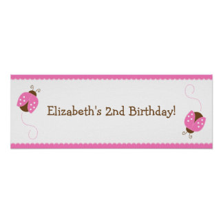 Pink and Brown Ladybug Birthday Banner Poster