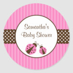 Pink and Brown Ladybug Striped Dots Baby Shower