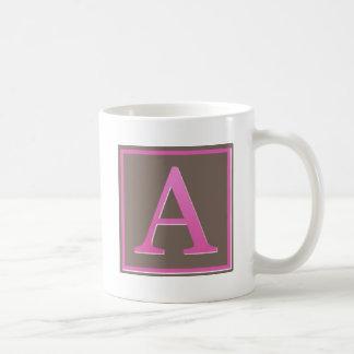 Pink and Brown Letter A Monogram Basic White Mug