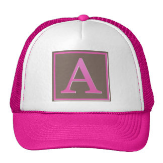 Pink and Brown Letter A Monogram Trucker Hat