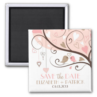 Pink and Brown Love Birds Save the Date Magnet