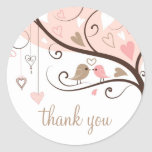 Pink and Brown Lovebirds Wedding Thank You Sticker