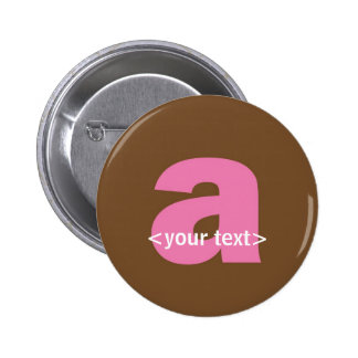 Pink and Brown Monogram - Letter A 6 Cm Round Badge