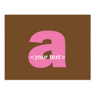 Pink and Brown Monogram - Letter A Postcard