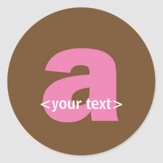 Pink and Brown Monogram - Letter A Round Sticker