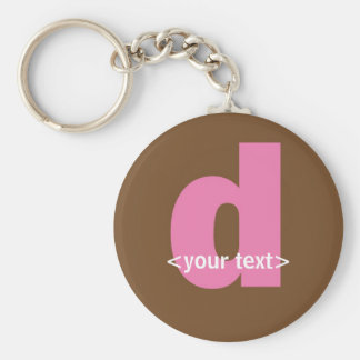 Pink and Brown Monogram - Letter D Key Chain