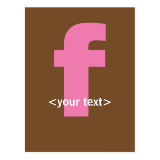 Pink and Brown Monogram - Letter F Postcard