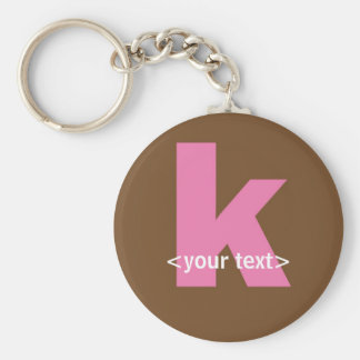 Pink and Brown Monogram - Letter K Basic Round Button Key Ring