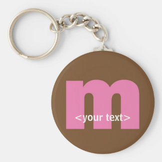 Pink and Brown Monogram - Letter M Basic Round Button Key Ring