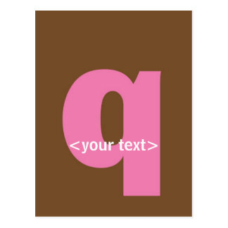 Pink and Brown Monogram - Letter Q Postcard