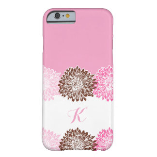 Pink and Brown, Monogram with Mums Barely There iPhone 6 Case