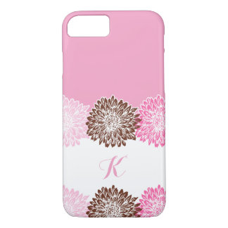 Pink and Brown, Monogram with Mums iPhone 7 Case