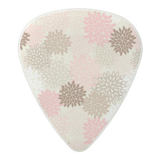 Pink And Brown Mum Pattern Acetal Guitar Pick