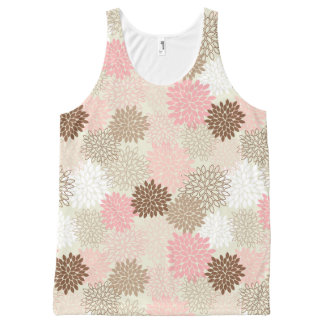 Pink And Brown Mum Pattern All-Over Print Tank Top