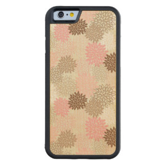 Pink And Brown Mum Pattern Carved Maple iPhone 6 Bumper Case