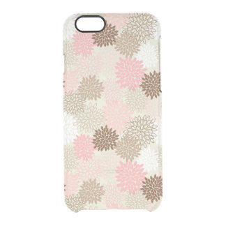 Pink And Brown Mum Pattern Clear iPhone 6/6S Case