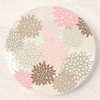 Pink And Brown Mum Pattern Coaster