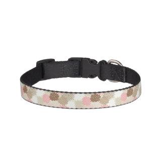 Pink And Brown Mum Pattern Dog Collar