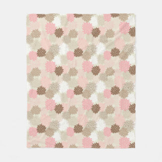 Pink And Brown Mum Pattern Fleece Blanket