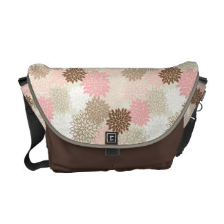 Pink And Brown Mum Pattern Messenger Bags