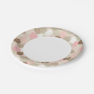 Pink And Brown Mum Pattern Paper Plate
