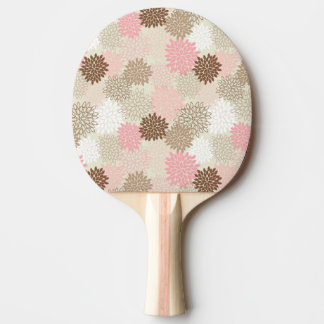 Pink And Brown Mum Pattern Ping Pong Paddle
