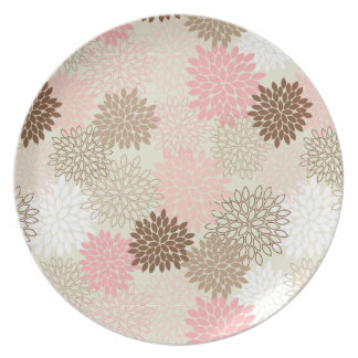 Pink And Brown Mum Pattern Plate