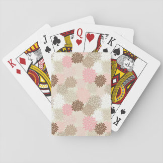Pink And Brown Mum Pattern Playing Cards