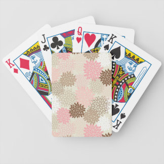 Pink And Brown Mum Pattern Poker Deck