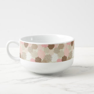 Pink And Brown Mum Pattern Soup Mug