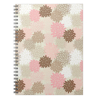 Pink And Brown Mum Pattern Spiral Notebook