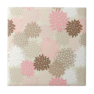 Pink And Brown Mum Pattern Tile