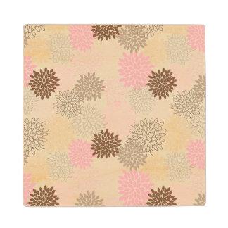Pink And Brown Mum Pattern Wood Coaster