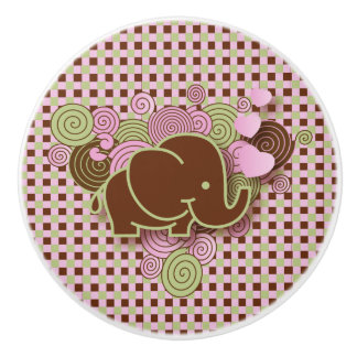 Pink and Brown Plaid with Elephant Ceramic Knob