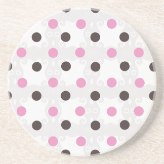 Pink and Brown Polka Dot Coaster