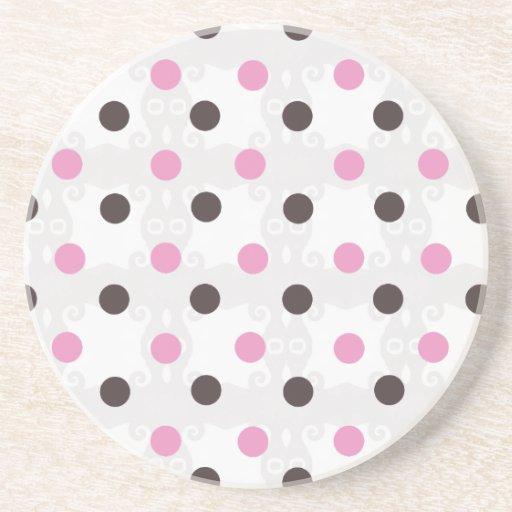 Pink and Brown Polka Dot Coaster