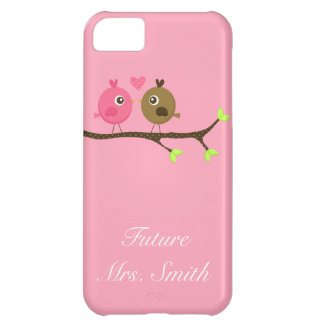 Pink and Brown Polka Dot Love Birds Future Mrs. iPhone 5C Case