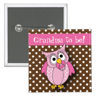 Pink and Brown Polka Dot Owl Baby Shower Theme 15 Cm Square Badge