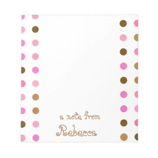 Pink and Brown Polka Dot Personalized Notepad